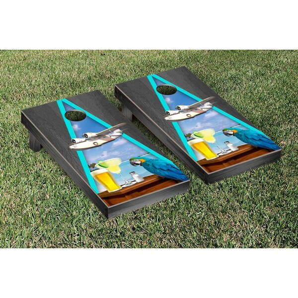 Margarita Beach Themed Onyx Stained Triangle Version 2 Cornhole Game Set by Victory Tailgate
