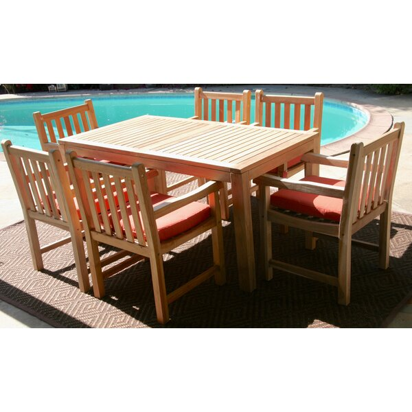 Caracas 7 Piece Teak Dining Set with Sunbrella Cushions by Trijaya Living