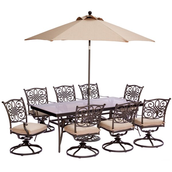 Carleton 9 Piece Oil Rubbed Bronze Metal Dining Set with Cushions and Umbrella by Fleur De Lis Living