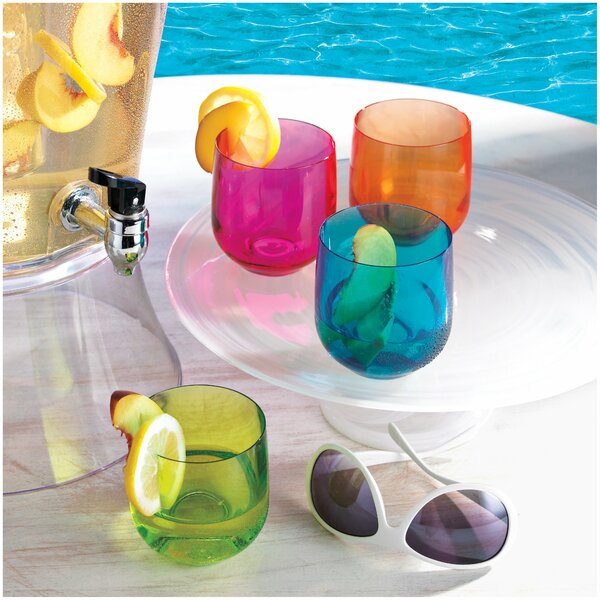 Neon Tumblers Plastic All Purpose Glass (Set of 8) by Wine Enthusiast