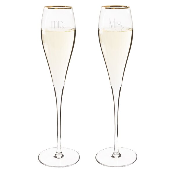 Mr. & Mrs. Gatsby Champagne Flute Glass (Set of 2) by Cathys Concepts
