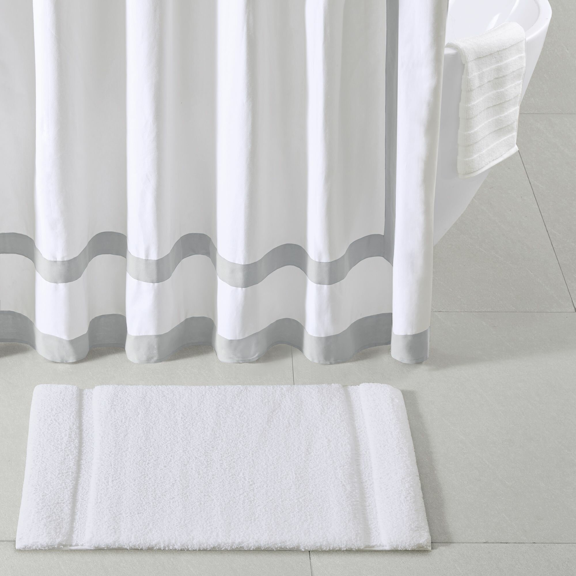 Madison Park Signature Stria Border Stripe Marshmallow Rectangle Non Slip Bath Rug Reviews Wayfair