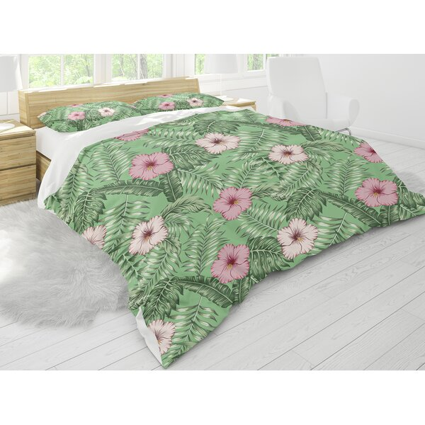 Lizeth Tropical Leaves and Hibiscus Comforter Set