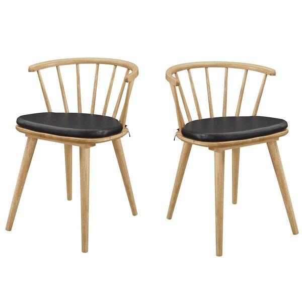 Minjares Windsor Dining Chairs Black And Danish Natural (Set Of 2) (Set of 2) by Brayden Studio Brayden Studio