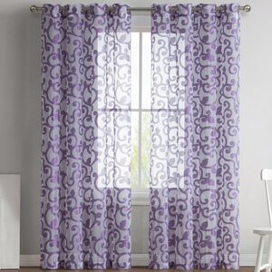 Ella Jacquard Nature/Floral Semi-Sheer Grommet Curtain Panels (Set of 2)