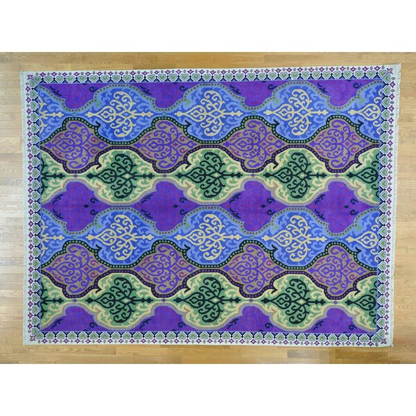 One-of-a-Kind Bearfield Mughal Design Hand-Knotted Purple Wool Area Rug by Isabelline