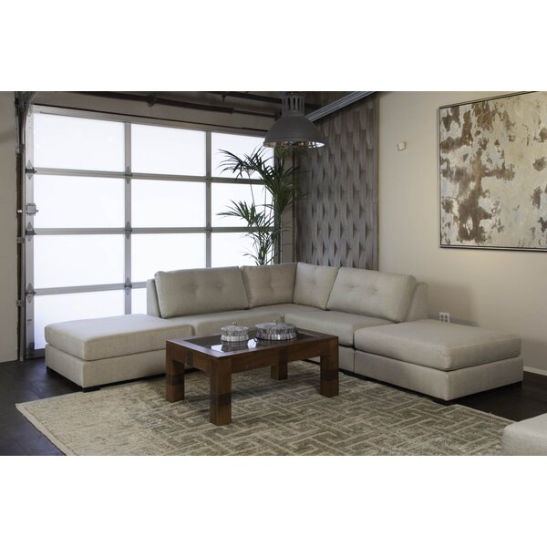 Glaude Buttoned L-Shape Modular Sectional With Double Ottoman By Brayden Studio