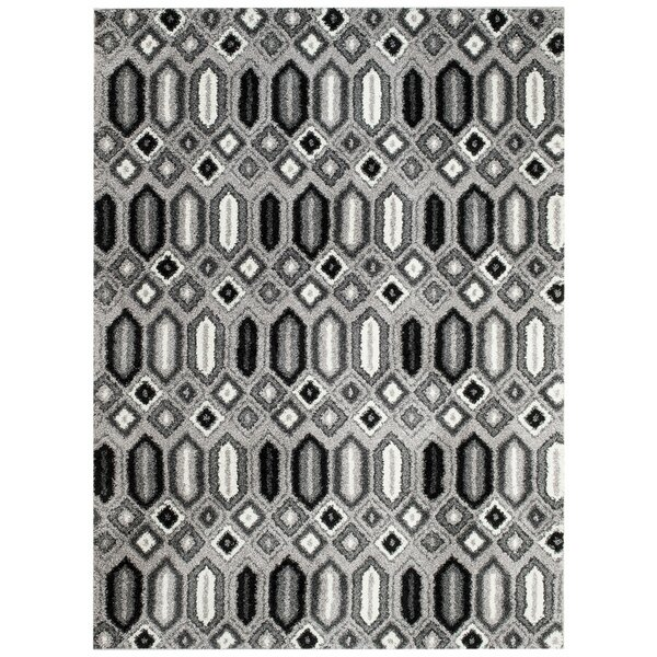 Hinman Geometrics White/Gray Area Rug by Wrought Studio