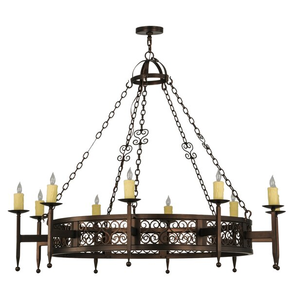 Grimmett 10 - Light Candle Style Wagon Wheel Chandelier By Fleur De Lis Living