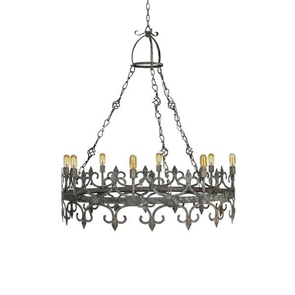 Venetian 8 - Light Candle Style Wagon Wheel Chandelier by ellahome ellahome