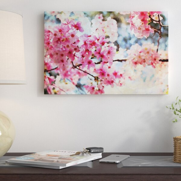 Cherry Flowers V Photographic Print on Wrapped Canvas by East Urban Home