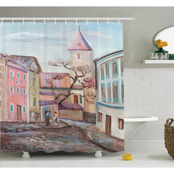 Watercolor Effect Town Shower Curtain Set by Ambesonne