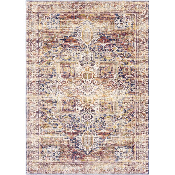 Richmond West Vintage Distressed Camel/Blue Area Rug by Bloomsbury Market