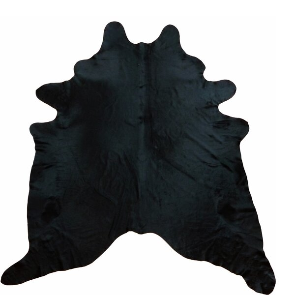 Large Dyed  Brazilian Cowhide Black Area Rug by Chesterfield Leather