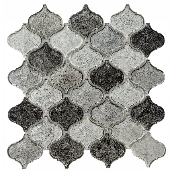 Mini Lantern 11.81 x 12.2 Glass Mosaic Tile in Gray by Byzantin Mosaic