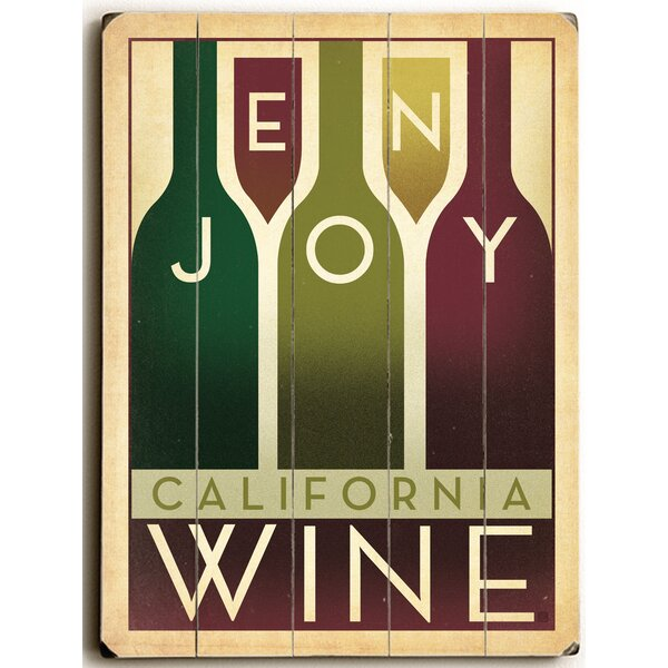 Enjoy Wine Wooden Textual Art by Red Barrel Studio