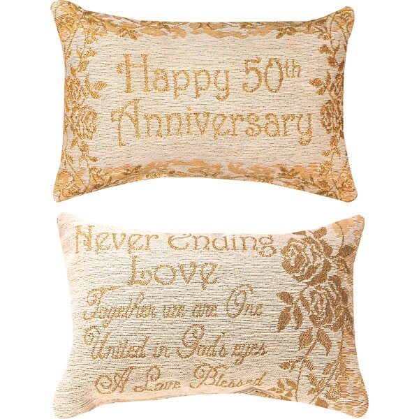 50th Anniversary Word Lumbar Pillow by Manual Woodworkers & Weavers