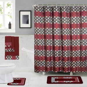 maroon shower curtain set. Rosenbloom Shower Curtain Set Christmas Sets  Wayfair