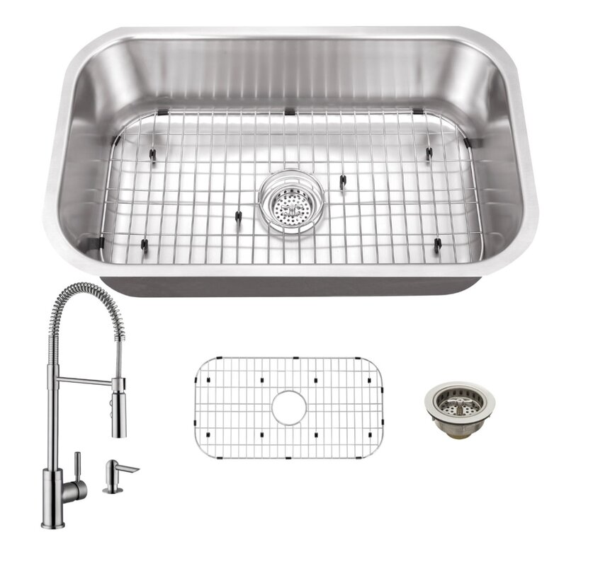 gauge stainless steel 30   x 18   undermount kitchen sink with faucet and soap dispenser cahaba gauge stainless steel 30   x 18   undermount kitchen sink      rh   wayfair com