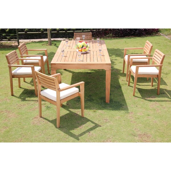 Moffitt 7 Piece Teak Dining Set By Rosecliff Heights