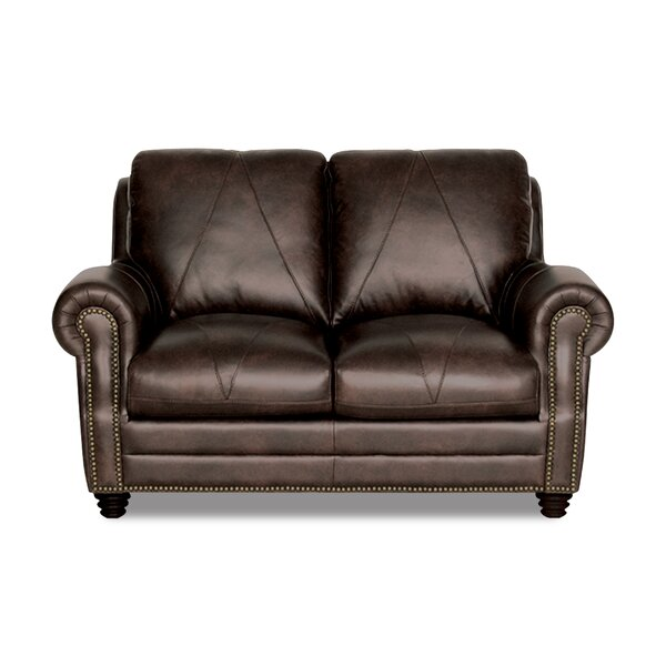Modern Collection Gardner Leather Loveseat by Darby Home Co by Darby Home Co