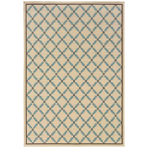 Newfield Ivory/Blue Indoor/Outdoor Area Rug by Threadbind
