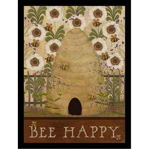 'Bee Happy Poster' by Beth Albert Framed Graphic Art by Buy Art For Less
