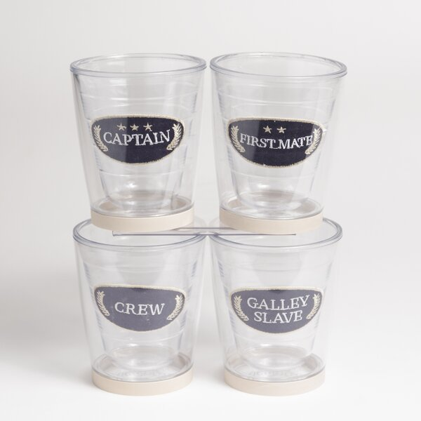 Newport Captain Non-skid 4 Piece 12 oz. Plastic Every Day Glass Set by Galleyware Company