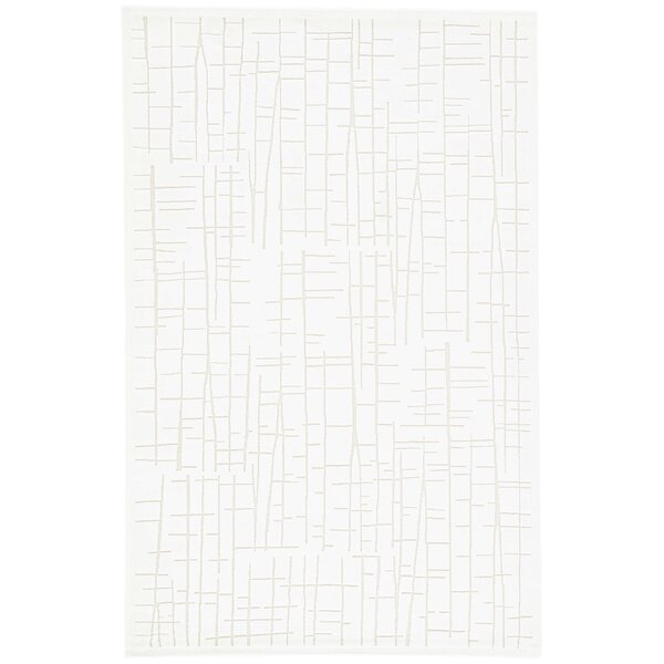 Van Cleef Power-Loomed White Area Rug by Williston Forge