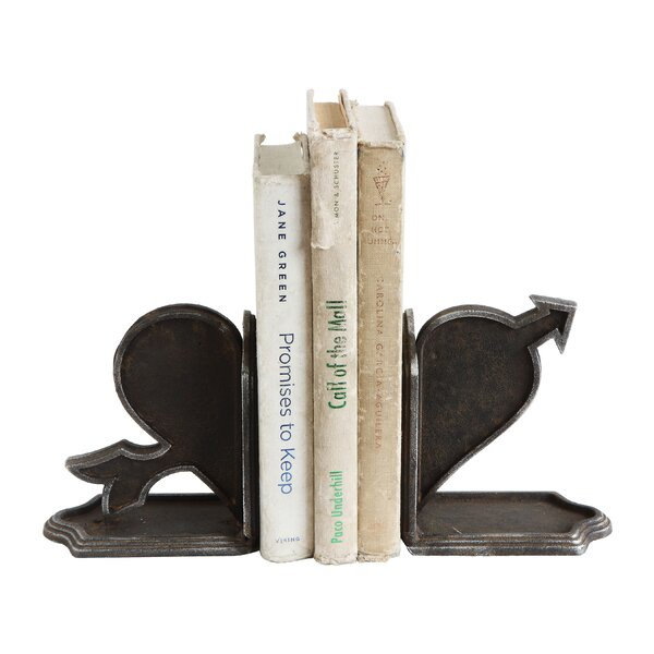 Cast Iron Heart and Arrow Bookends (Set of 2) by Winston Porter