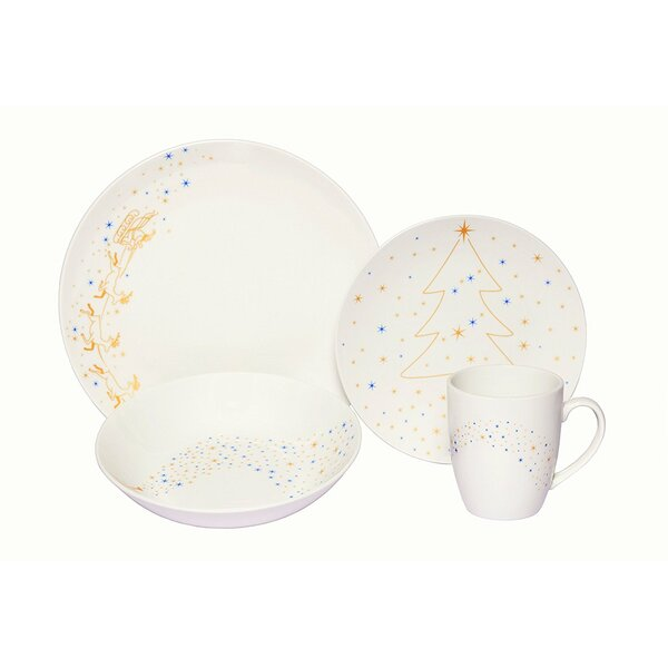 Golden Angels Coupe Porcelain 16 Piece Dinnerware Set by The Holiday Aisle