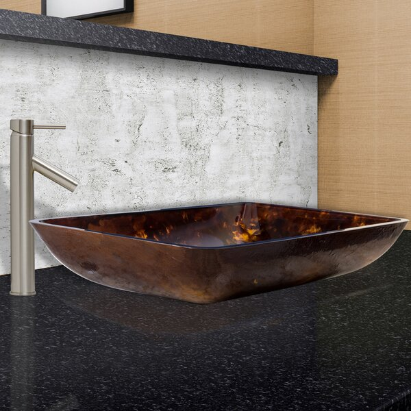 Glass Rectangular Vessel Bathroom Sink With Faucet By Vigo.