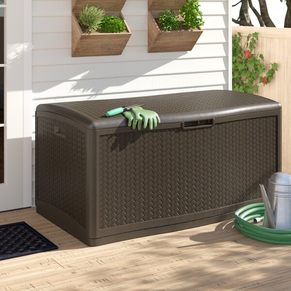 Java Herringbone Outdoor 124 Gallon Resin Deck Box By Suncast