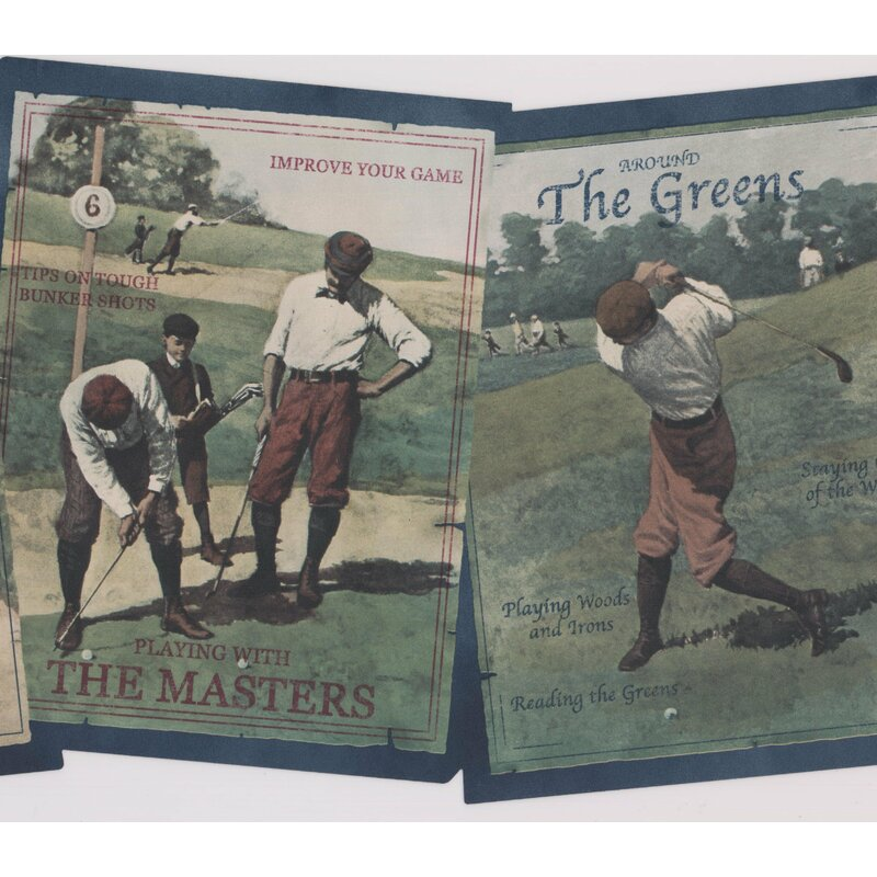 York Wallcoverings Vintage Golf Books Title Page Sports Wide Retro