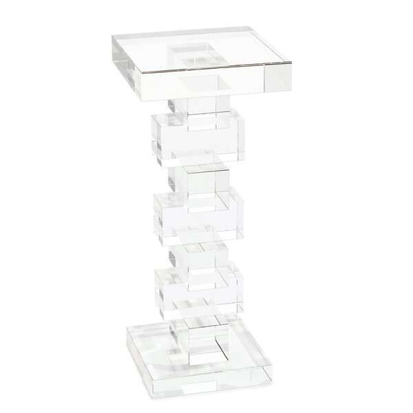 Review Pedestal Glass Top End Table