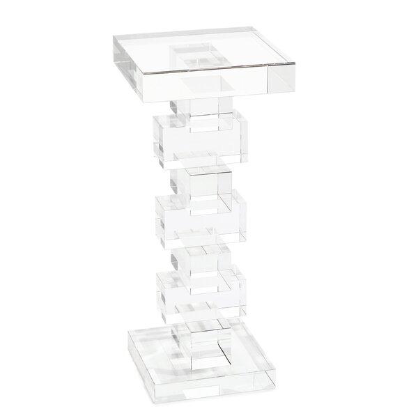 Home & Garden Pedestal Glass Top End Table