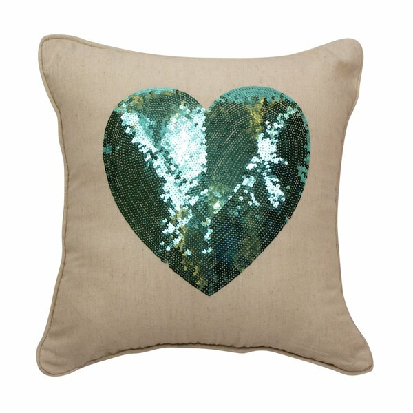 Emma and Violet Sequin Heart Throw Pillow by Westex