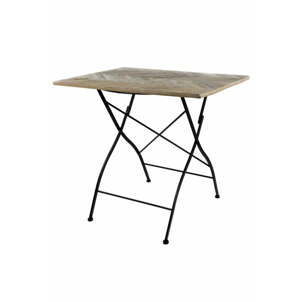 Altus Recycled Herringbone Folding Wooden Bistro Table by Williston Forge