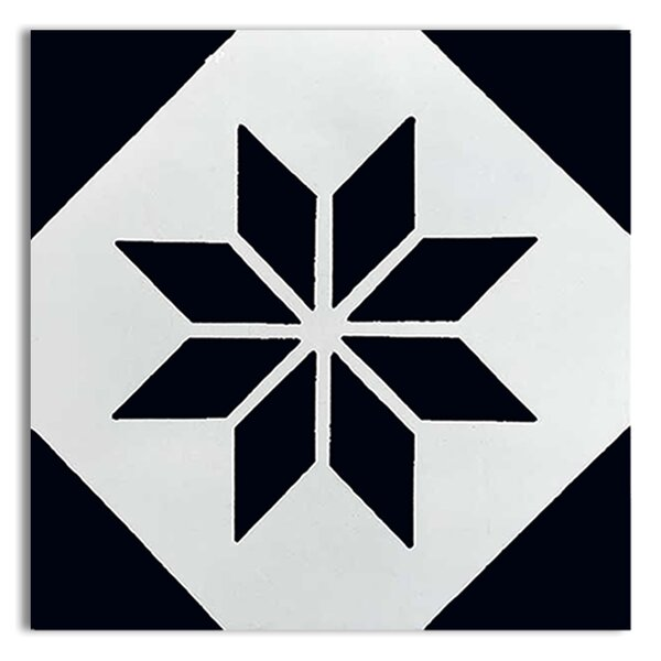 Assila 8 x 8 Handmade Cement  Tile in Black/White by Moroccan Mosaic