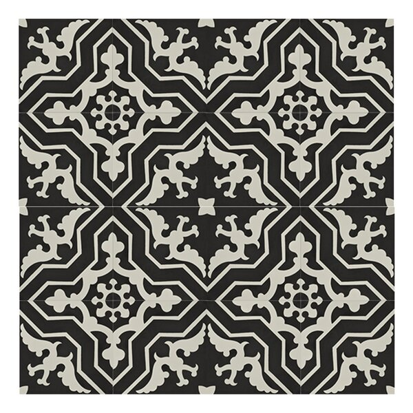 Temara 8 x 8 Handmade Cement Tile in Black/White by Moroccan Mosaic