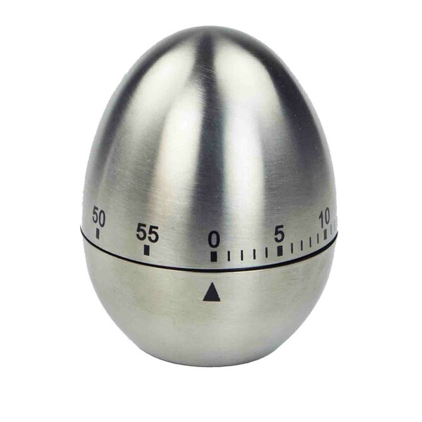 Stainless Steel Mechanical Egg Shape Timer by Home