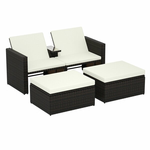 Elmir 3 Piece Double Reclining Chaise Lounge Set with Cushion by Latitude Run Latitude Run