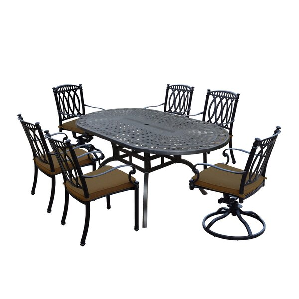 Otsego 7 Piece Aluminum Dining Set with Cushions by Darby Home Co