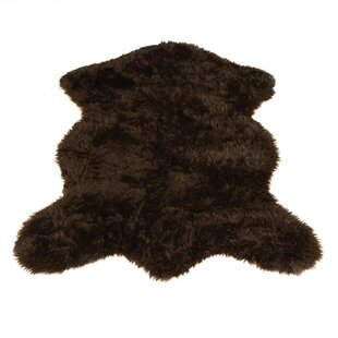 Animal Pelt Faux Sheepskin Brown Area Rug