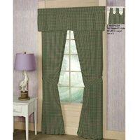 green hunter and tan checks curtain panels set of 2 - Hunter Green Curtains