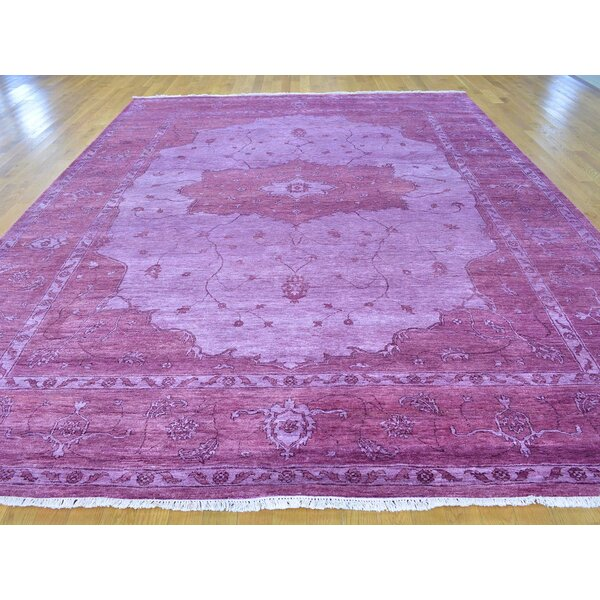 One-of-a-Kind Bean Art Overdyed Hand-Knotted Purple Silk Area Rug by Isabelline