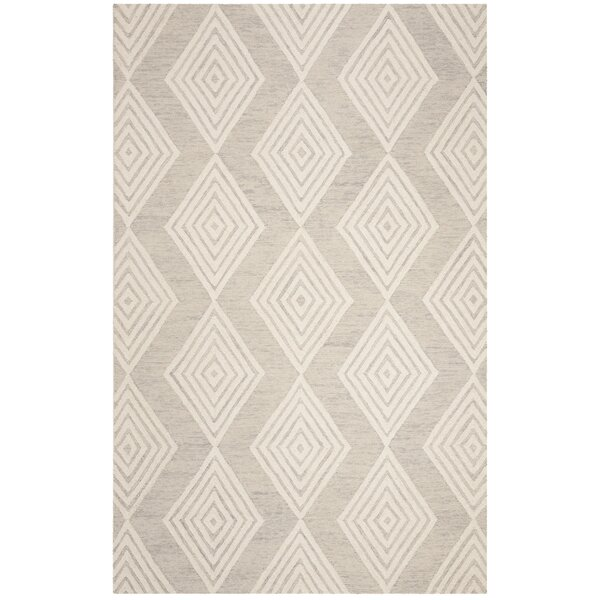 Pizano Hand-Woven Wool Cream/Silver Area Rug by Wrought Studio