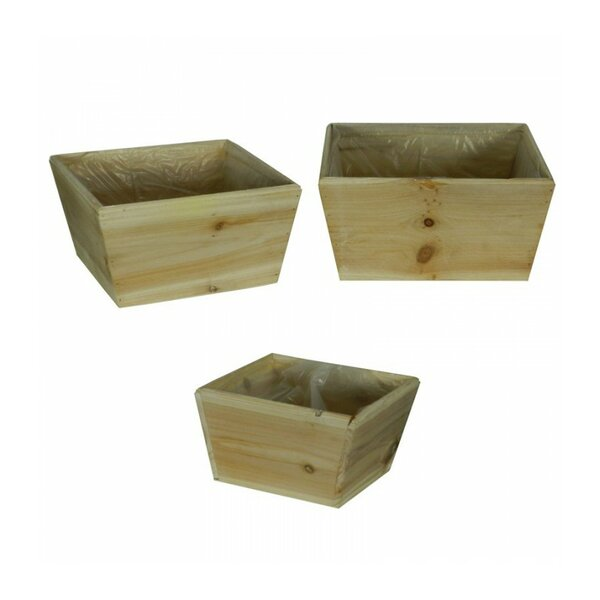 Wooden Flower 3-Piece Wood Pot Planter Set (Set of 3) by Entrada