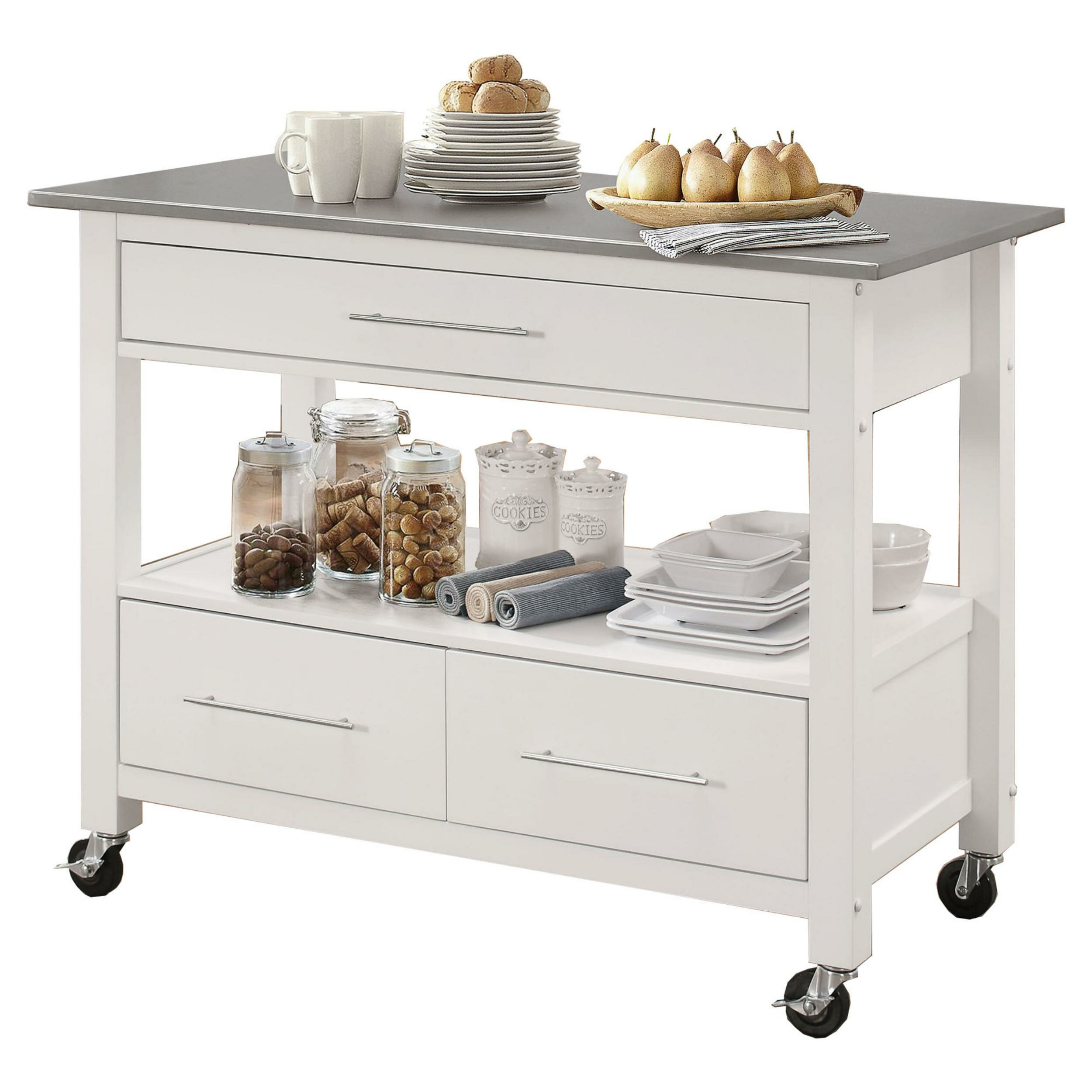 Krumm Kitchen Cart With Stainless Steel Top