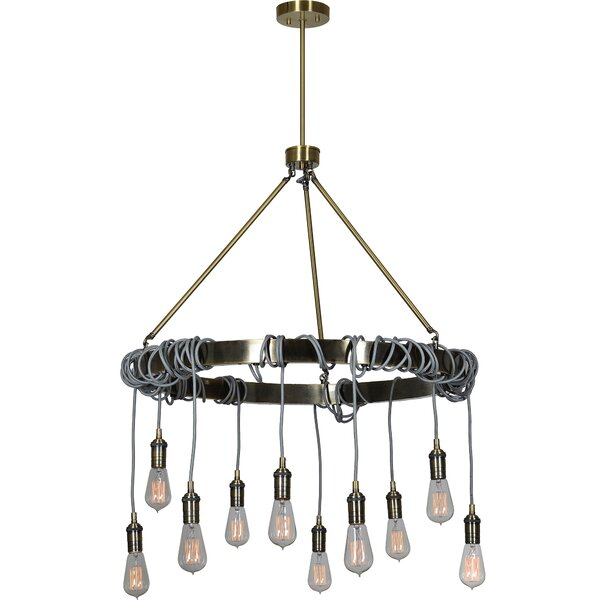 Orchard Street 10 - Light Unique / Statement Wagon Wheel Chandelier With Wrought Iron Accents By Williston Forge